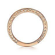 14k Rose Gold Engraved Milgrain Slim Stackable Ring