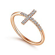 14k Rose Gold Faith Cross Ladies Ring