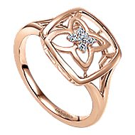 14k Rose Gold Floral Fashion Ladies' Ring angle 3