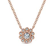 14k Rose Gold Floral Fashion Necklace