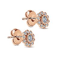 14k Rose Gold Floral Stud Earrings angle 2