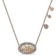 14k Rose Gold Hammered Diamond Pendant Necklace