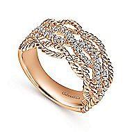 14k Rose Gold Hampton Wide Band Ladies' Ring angle 3