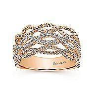 14k Rose Gold Hampton Wide Band Ladies' Ring angle 4