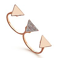 14k Rose Gold Kaslique Double Ring Ladies' Ring angle 3