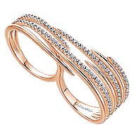 14k Rose Gold Kaslique Double Ring Ladies Ring