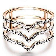14k Rose Gold Kaslique Wide Band Ladies' Ring angle 1