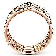 14k Rose Gold Kaslique Wide Band Ladies' Ring angle 2