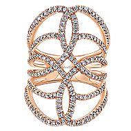 14k Rose Gold Lusso Statement Ladies' Ring angle 1