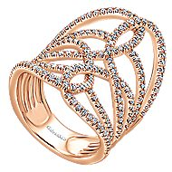 14k Rose Gold Lusso Statement Ladies' Ring angle 3