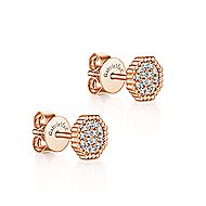 14k Rose Gold Octagonal Pave Diamond Cluster Stud Earrings