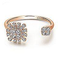 14k Rose Gold Open Asymmetrical Diamond Fashion Ring