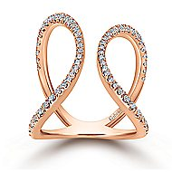 14k Rose Gold Open Wide Band Fashion Ring