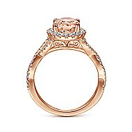 14k Rose Gold Oval Morganite Diamond Halo Twisted Engagement Ring