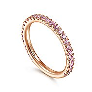 14k Rose Gold Pink Sapphire Scalloped Stackable Ladies' Ring