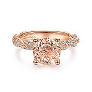 14k Rose Gold Round Morganite Twisted Engagement Ring
