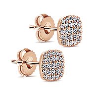 14k Rose Gold Silk Stud Earrings angle 2