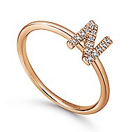 14k Rose Gold Stackable Initial Ladies' Ring angle 3