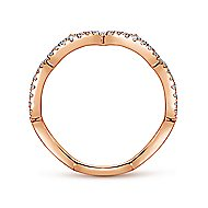 14k Rose Gold Stackable Scalloped Silhouette Ladies Ring