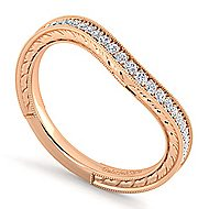 14k Rose Gold Victorian Curved Wedding Band angle 3