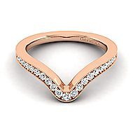 14k Rose Gold Victorian Curved Wedding Band angle 1