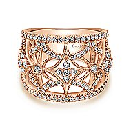 14k Rose Gold Victorian Wide Band Ladies' Ring angle 1