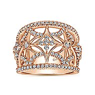 14k Rose Gold Victorian Wide Band Ladies' Ring angle 4