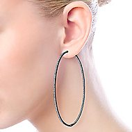 14k W W And Black Rhodium Contemporary Inside Out Diamond Hoop Earrings