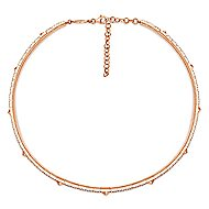14k White And Rose Gold Cascade Choker Choker Necklace angle 2