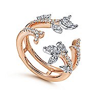 14k White And Rose Gold Contemporary Enhancer Anniversary Band angle 3