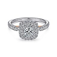 14k White And Rose Gold Cushion Cut Double Halo Engagement Ring angle 1