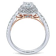 14k White And Rose Gold Cushion Cut Double Halo Engagement Ring angle 2