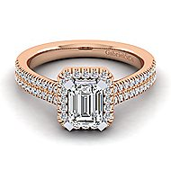 14k White And Rose Gold Emerald Cut Halo Engagement Ring angle 1