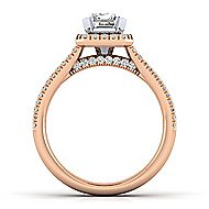 14k White And Rose Gold Emerald Cut Halo Engagement Ring angle 2