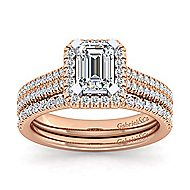 14k White And Rose Gold Emerald Cut Halo Engagement Ring angle 4