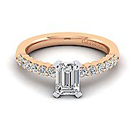 14k White And Rose Gold Emerald Cut Straight Engagement Ring angle 1