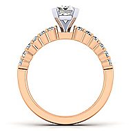 14k White And Rose Gold Emerald Cut Straight Engagement Ring angle 2