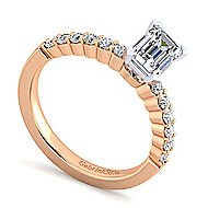 14k White And Rose Gold Emerald Cut Straight Engagement Ring angle 3