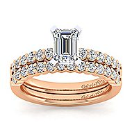 14k White And Rose Gold Emerald Cut Straight Engagement Ring angle 4
