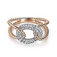 14k White And Rose Gold Hampton Twisted Ladies Ring