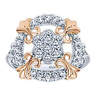 14k White And Rose Gold Lusso Classic Ladies' Ring angle 4