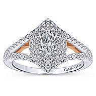 14k White And Rose Gold Marquise  Double Halo Engagement Ring angle 5