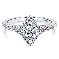 14k White And Rose Gold Marquise  Halo Engagement Ring angle 1
