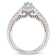 14k White And Rose Gold Marquise  Halo Engagement Ring angle 2