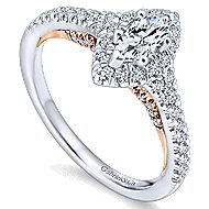14k White And Rose Gold Marquise  Halo Engagement Ring angle 3