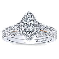 14k White And Rose Gold Marquise  Halo Engagement Ring angle 4