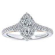 14k White And Rose Gold Marquise  Halo Engagement Ring angle 5