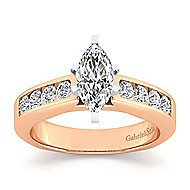 14k White And Rose Gold Marquise  Straight Engagement Ring angle 5