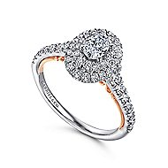 14k White And Rose Gold Oval Double Halo Engagement Ring angle 3