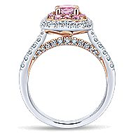 14k White And Rose Gold Oval Double Halo Engagement Ring